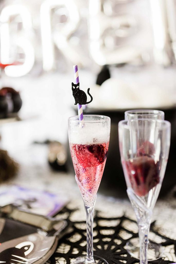 Black cat straw in Black Cherry Sparkler Drink