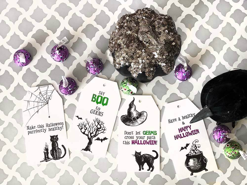 Say BOO to germs boo basket tags for Halloween neighbor gifts