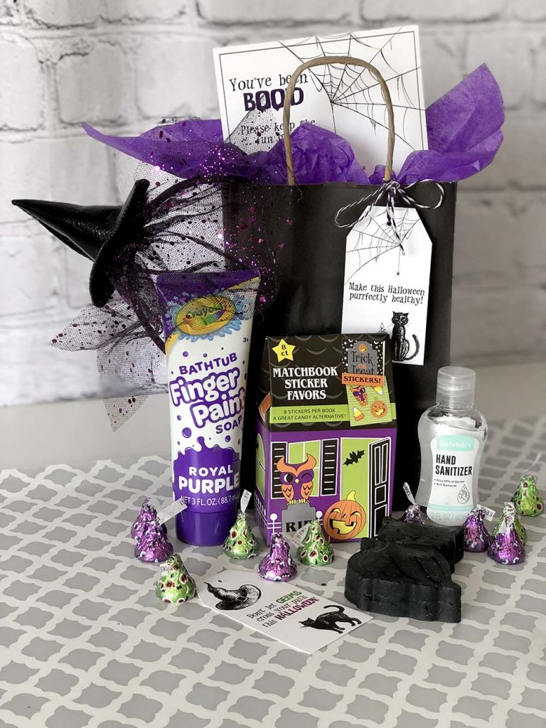 Germ free Boo Basket for Halloween neighborhood Boo game