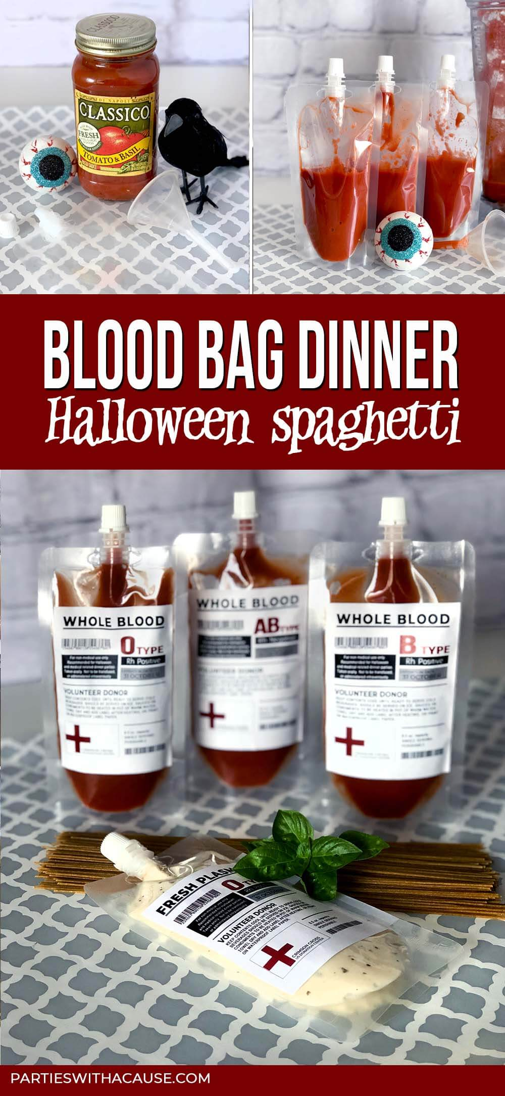 Blood bags for Halloween spaghetti dinner by Salt Lake Party Stylist