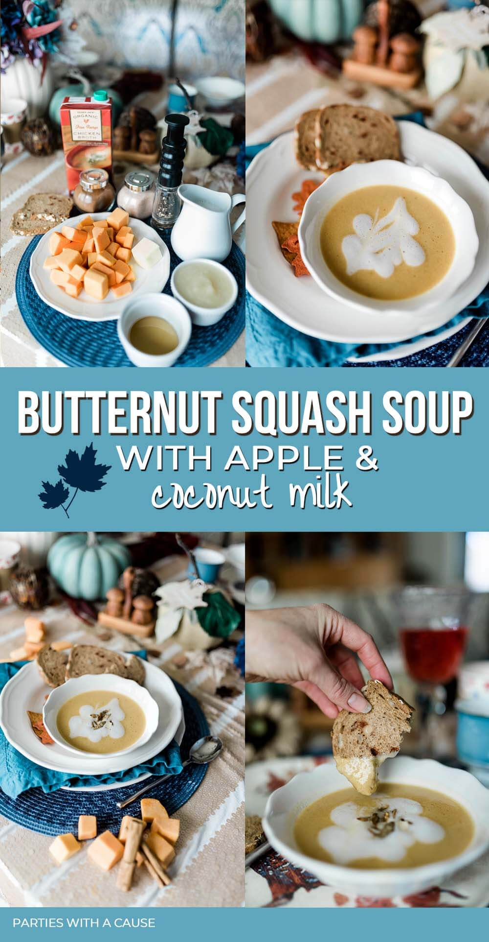 Butternut squash soup with apple and coconut milk by Salt Lake Healthy Hostess