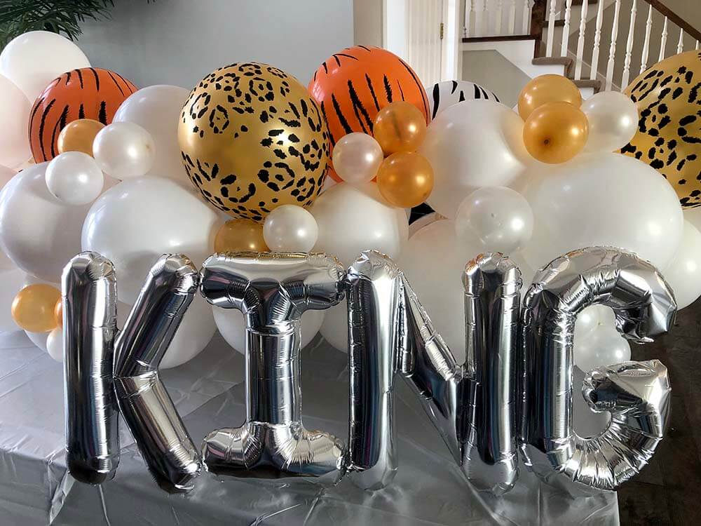 Tiger King animal print balloon garland by Salt Lake Party Stylist