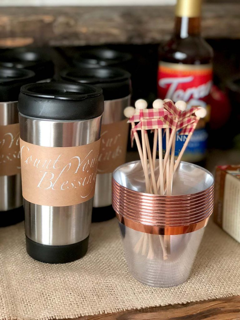Count your blessings cup wraps and stir sticks