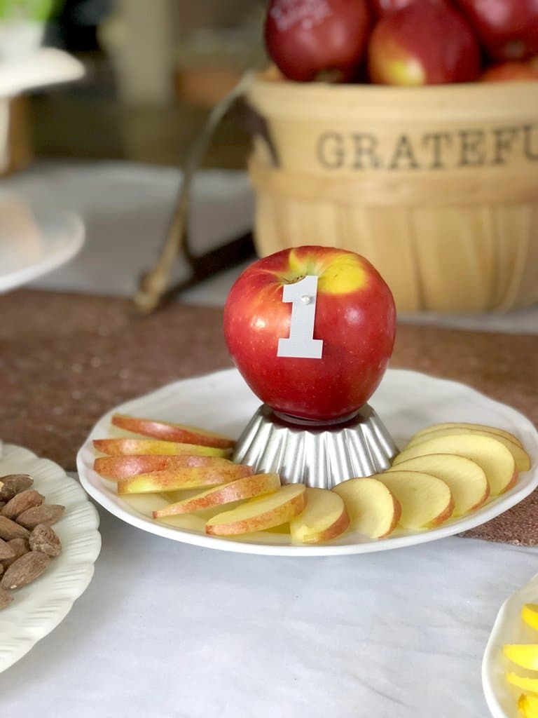 Honeycrisp apple cut and displayed for apple tasting party