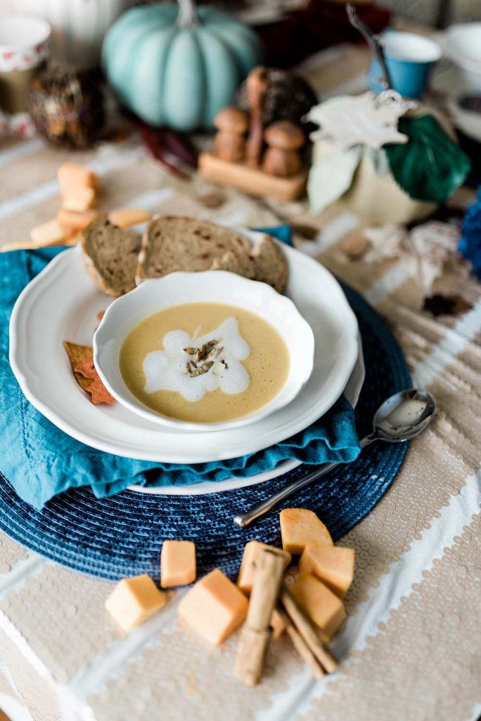 Butternut squash soup recipe served on Thanksgiving table by Salt Lake Healthy Hostess