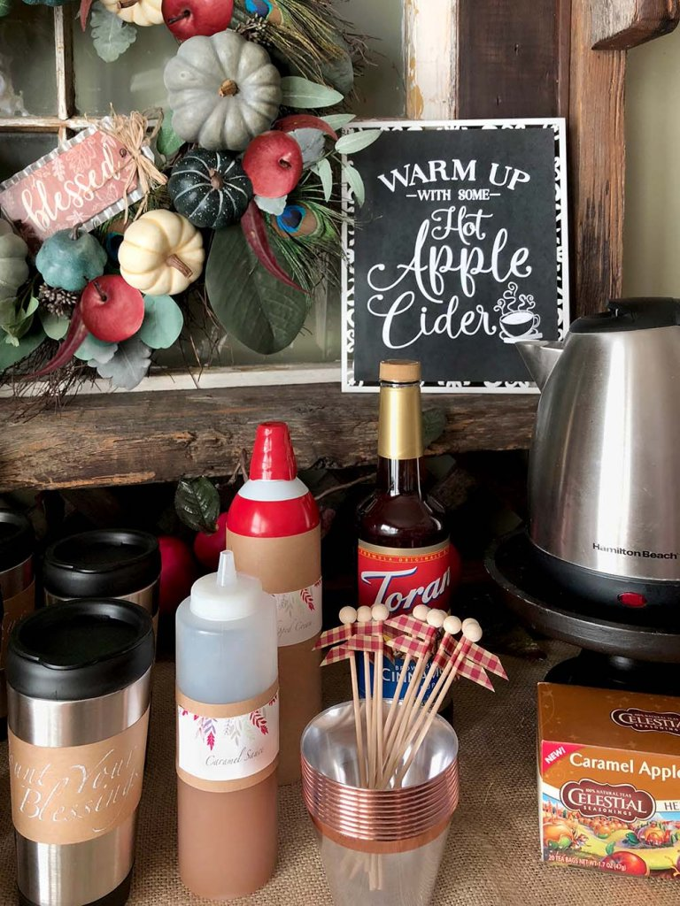 apple cider bar with caramel, whipped cream, and cinnamon syrup