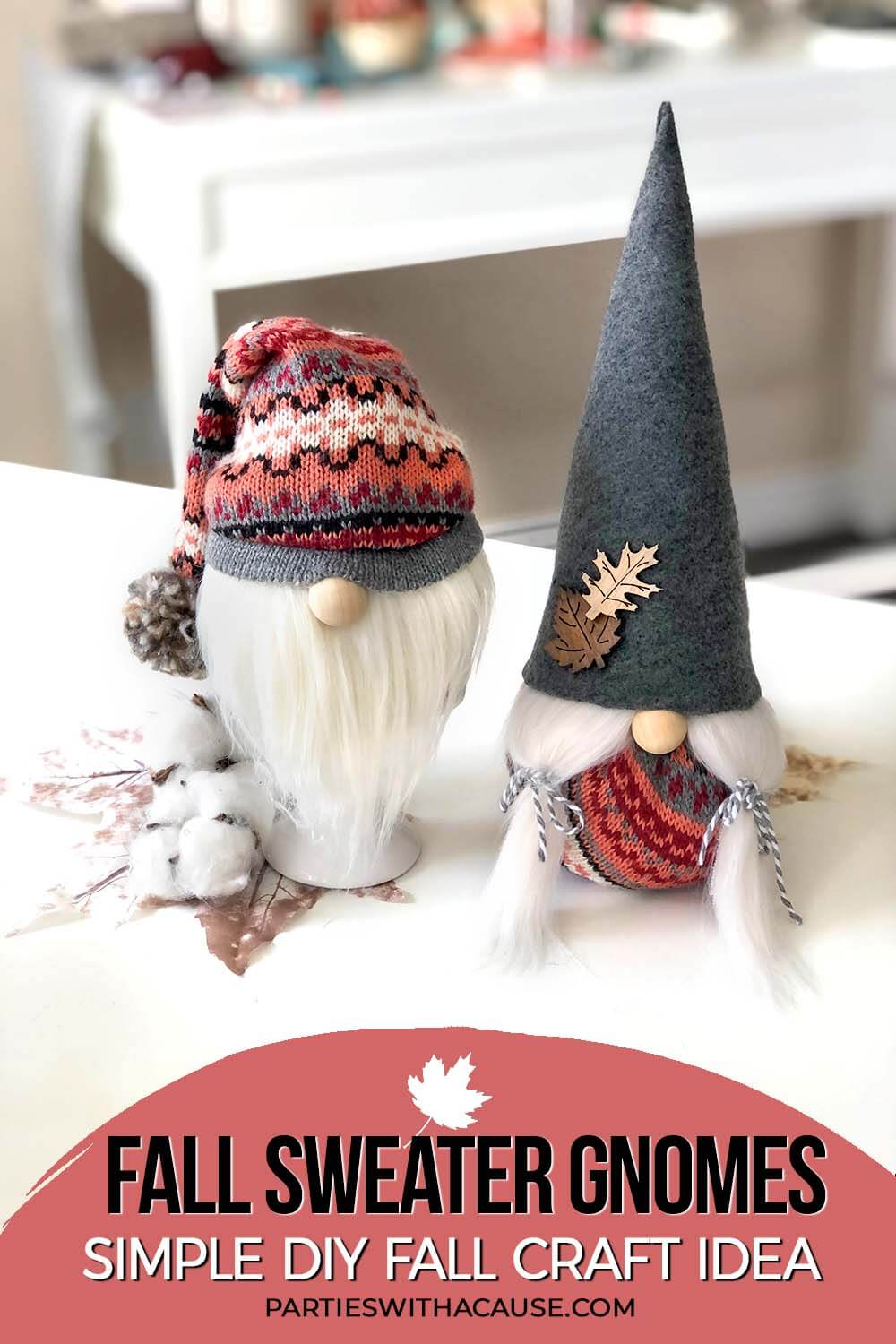 Darling Fall gnomes made from a sweater