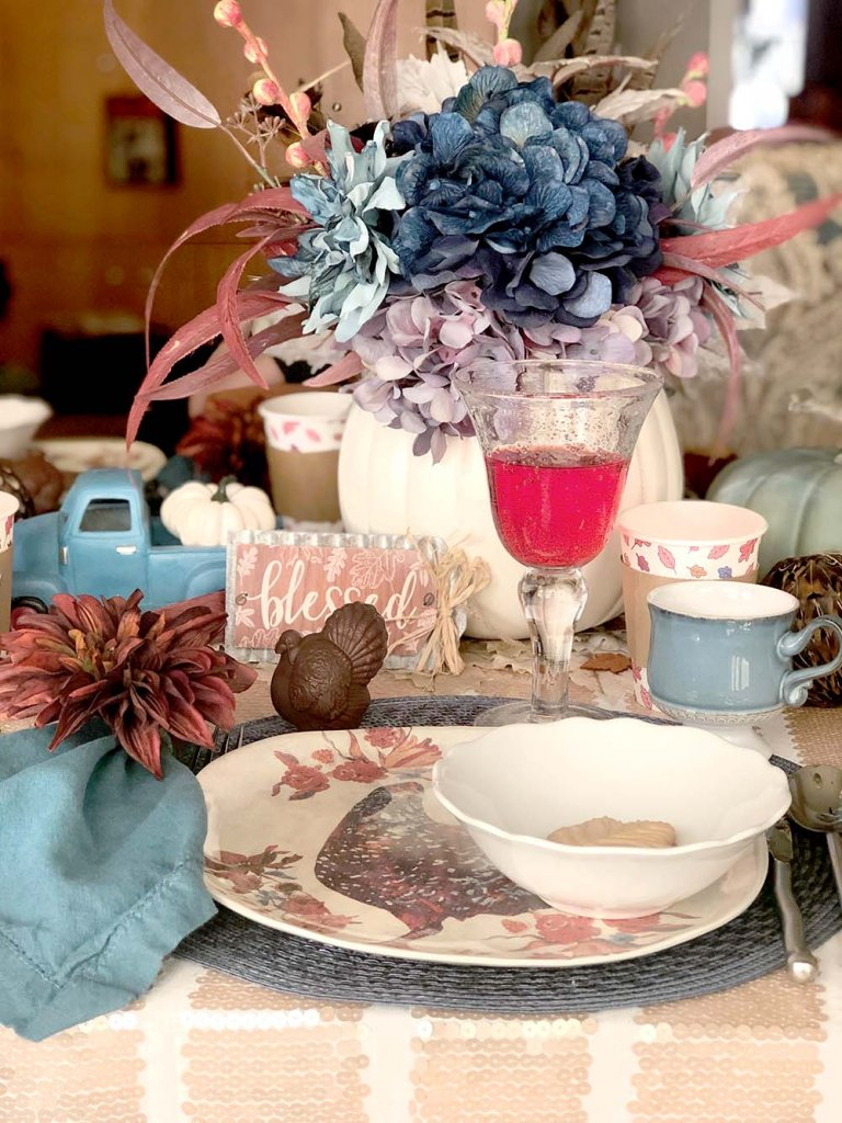 rustic place setting for Thanksgiving dinner