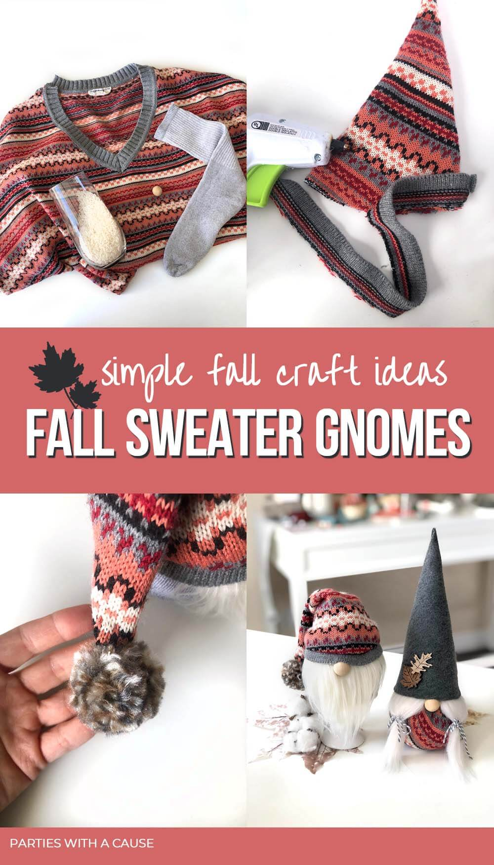 Fall sweater gnomes for thanksgiving decor