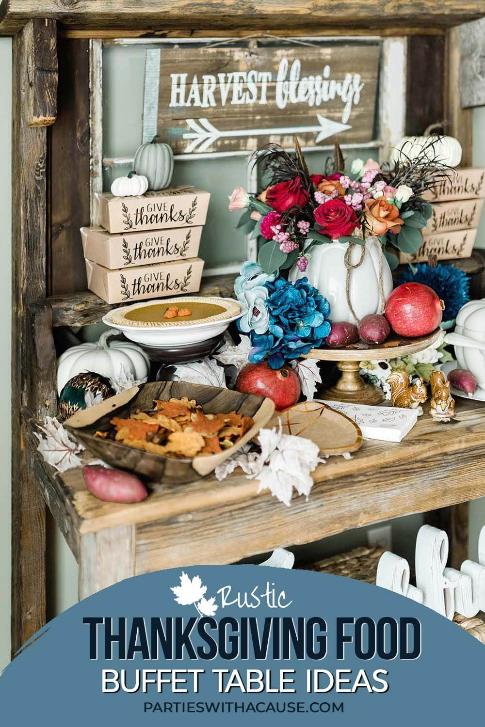 Thanksgiving buffet table decor ideas by Salt Lake Party Stylist