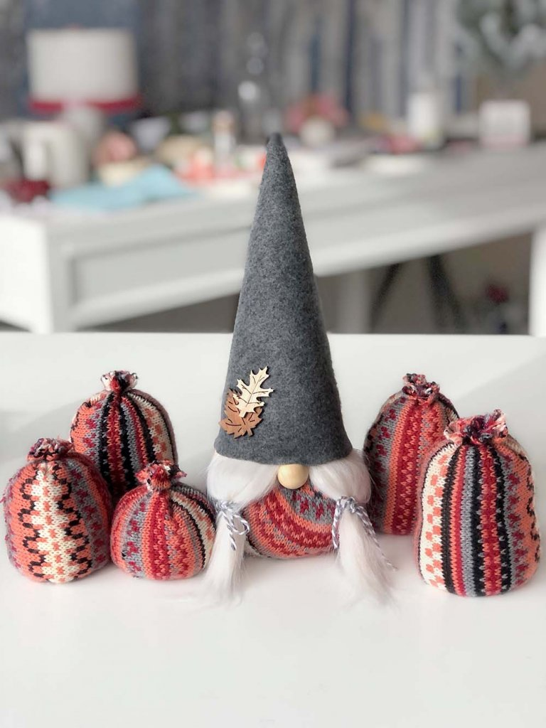 Fall gnomes made from sweaters