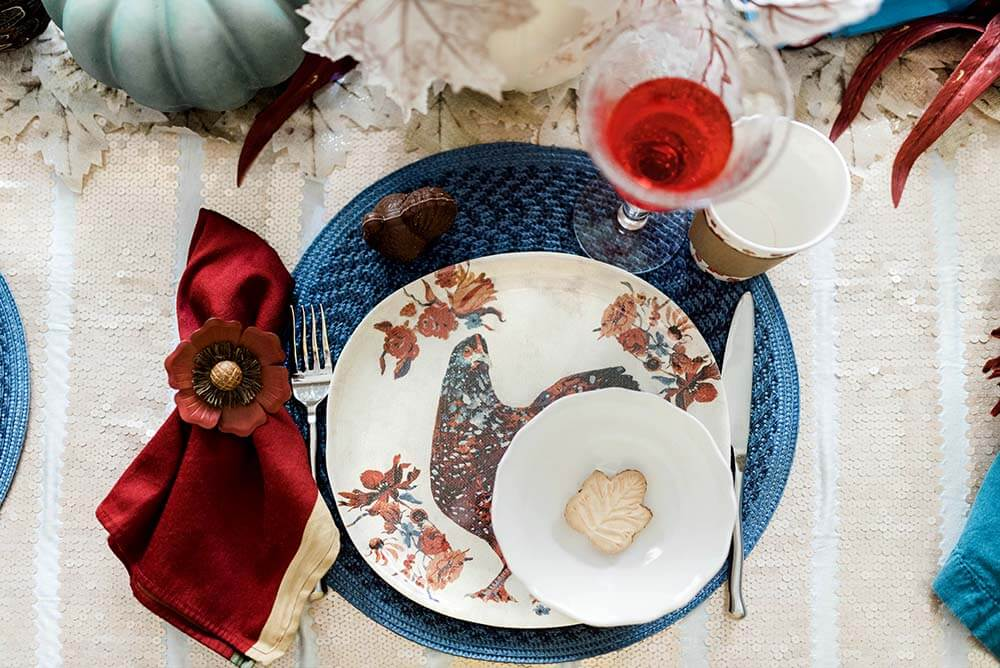 Chicken plate Thanksgiving place setting