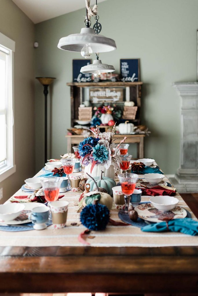 Rustic table set for Thanksgiving dinner