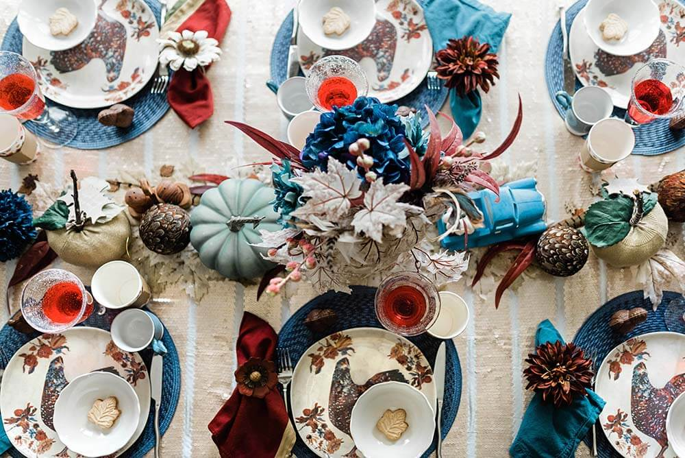 Table set for rustic thanksgiving dinner