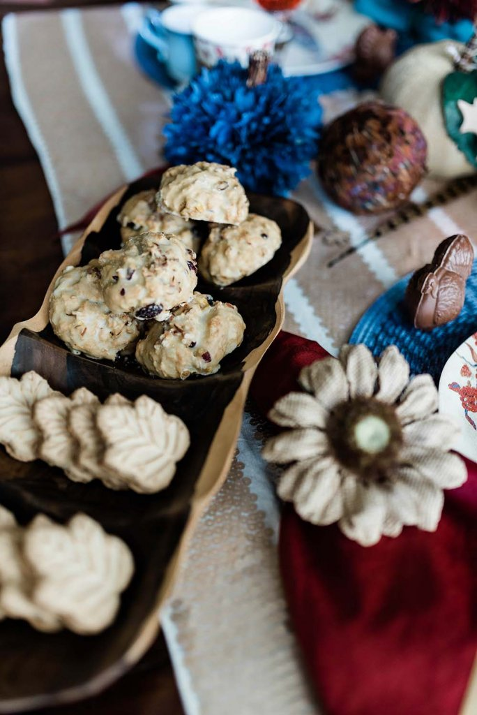Maple cookies and cranberry scones on Thanksgiving food table