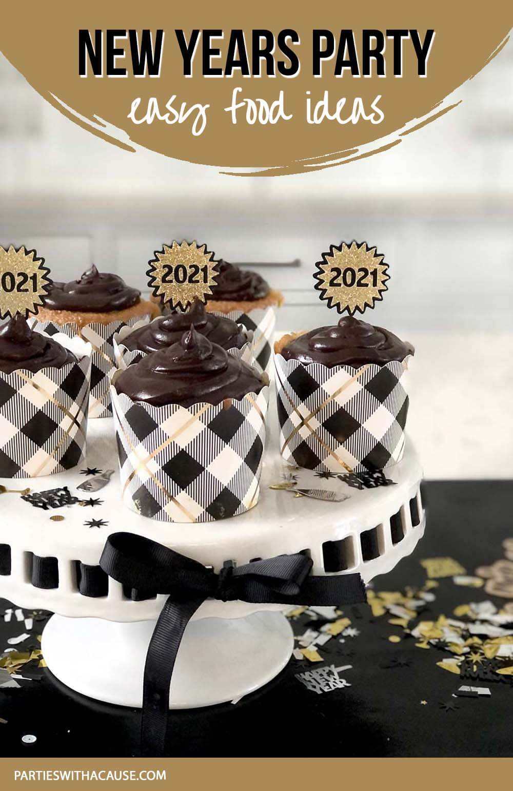 Easy New years party food ideas with leopard print cupcakes by Salt Lake Party Stylist