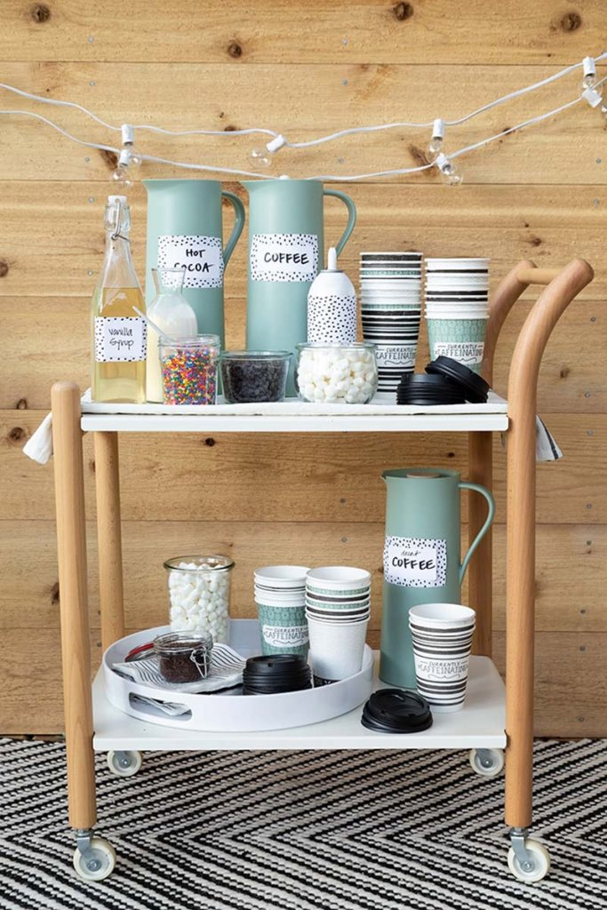 Hot cocoa bar cart for indoor or outdoor events