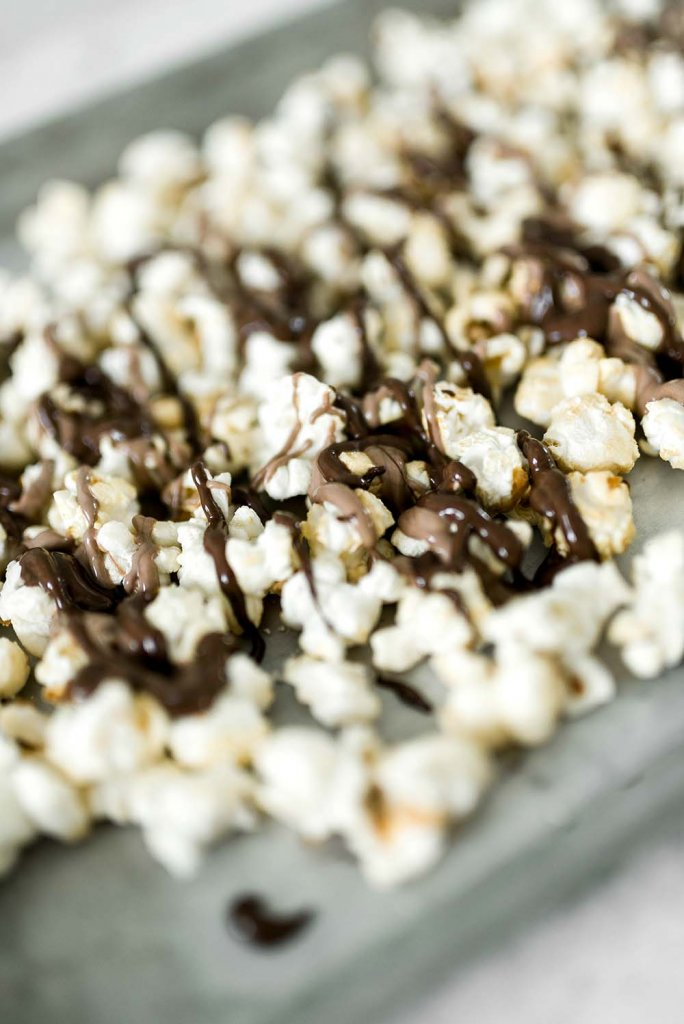 Chocolate drizzled popcorn for party