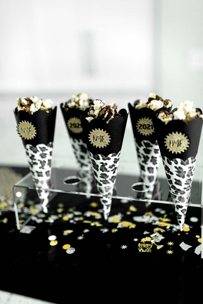 Cheetah popcorn cones for New Years party