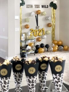 Chocolate popcorn cones for Safari themed New Years party