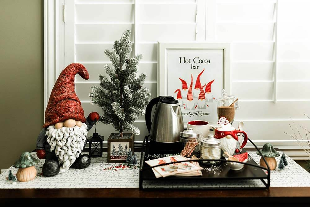 Christmas gnome hot chocolate bar for a guest room