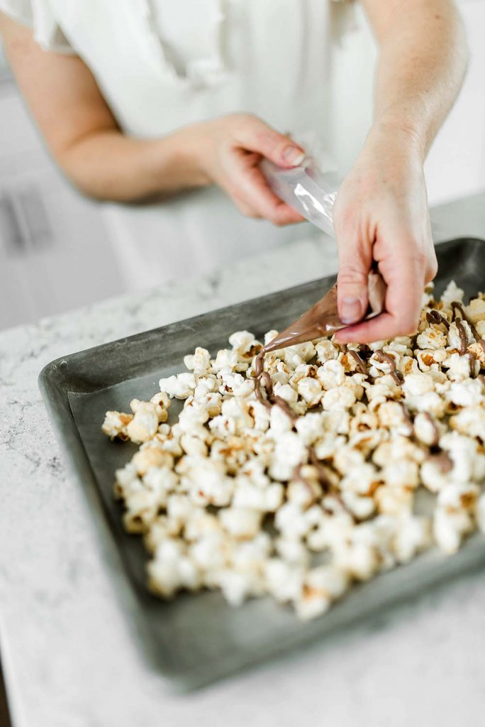 Safari Party Popcorn with milk chocolate drizzle