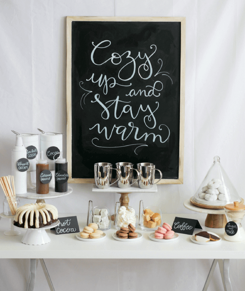Cozy up and stay warm hot cocoa bar