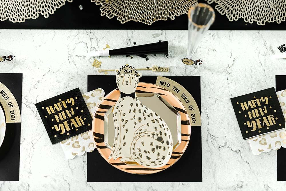Into the wild with cheetah plates for a New Years eve party