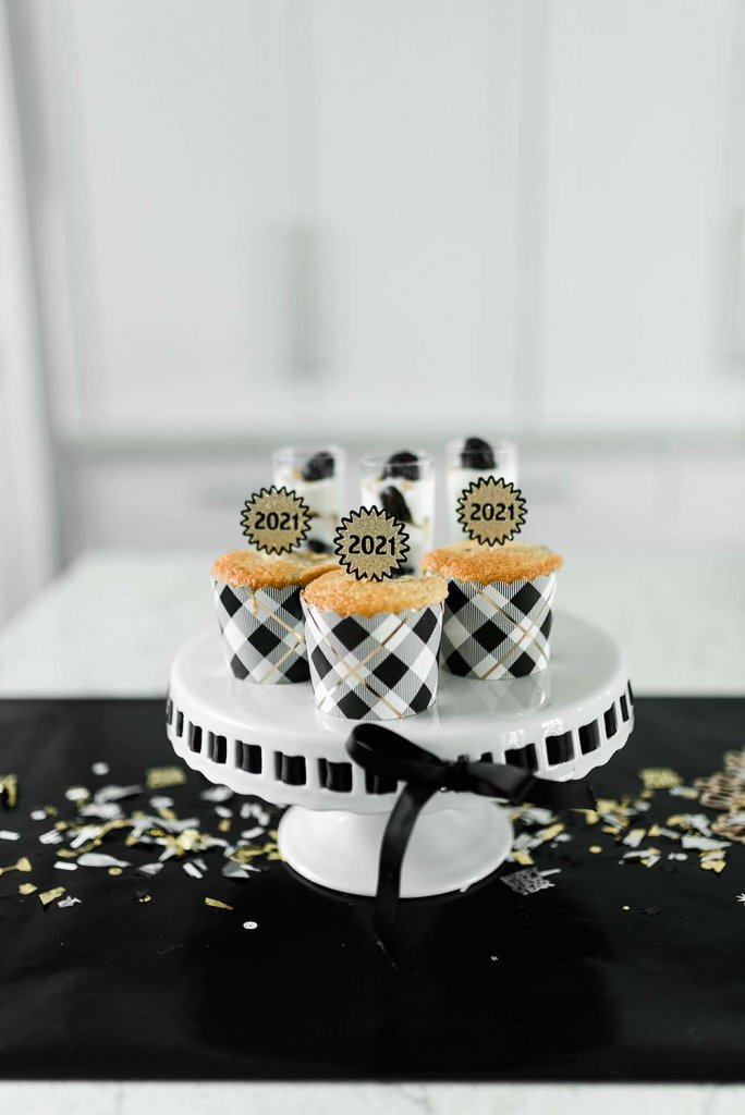 Cheetah cupcakes in baking cups for new years eve party