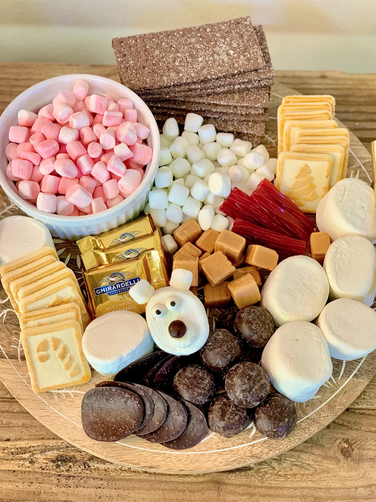 Hot chocolate platter with treats and mix-ins