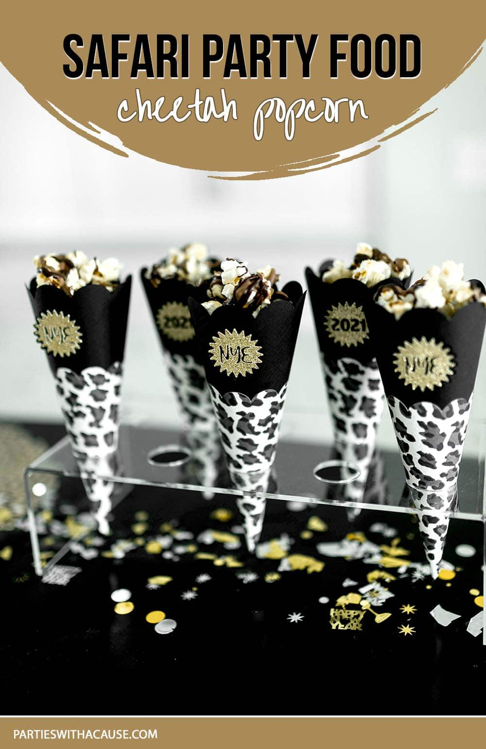 cheetah popcorn with chocolate drizzle by Salt Lake Party Stylist