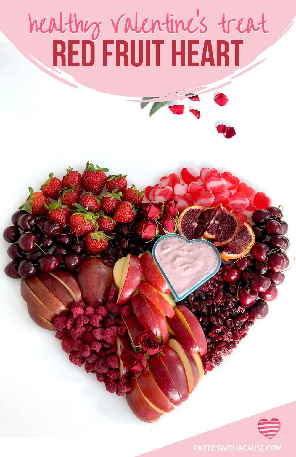 Healthy Valentine's Treat red food fruit heart by Salt Lake party stylist