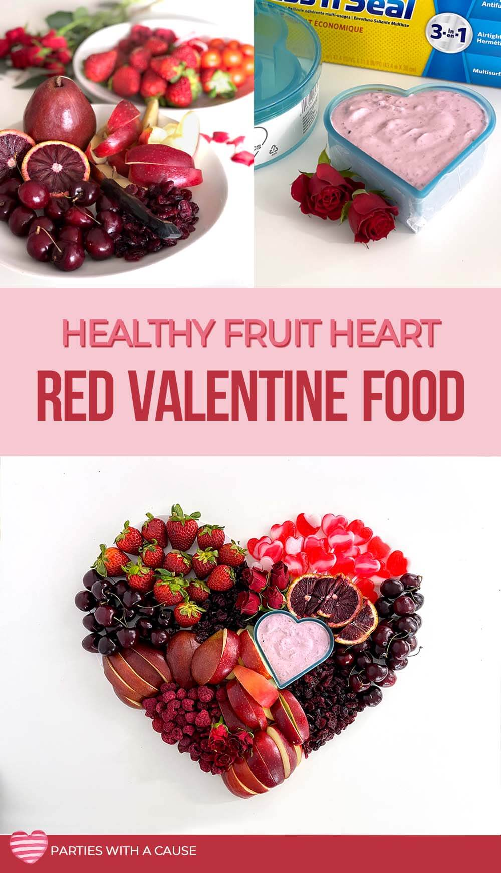 Healthy fruit heart red Valentine food by Salt Lake party stylist