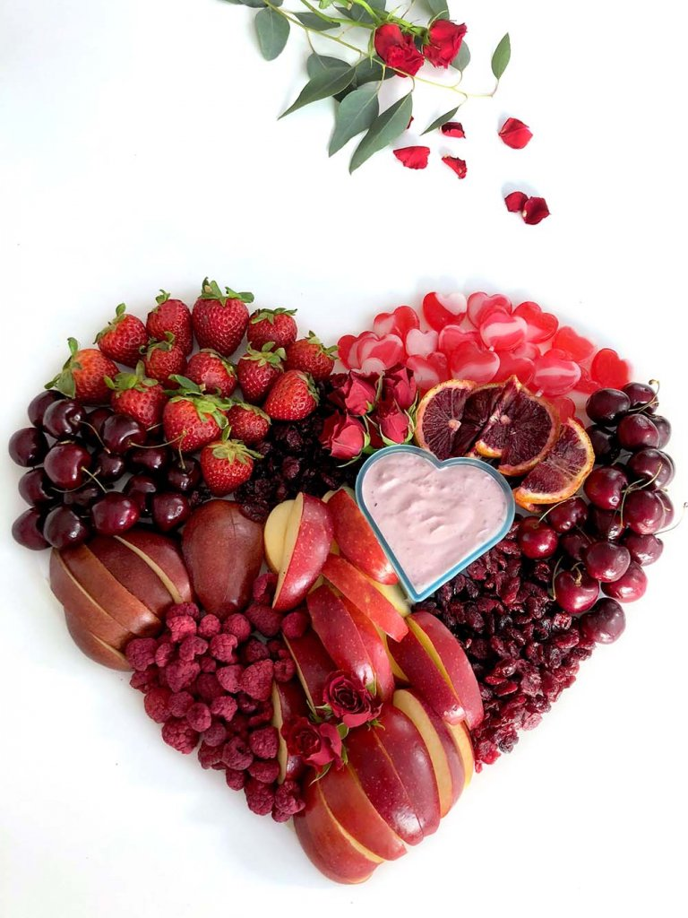 red food fruit heart for Valentine's Day by Salt Lake Party stylist