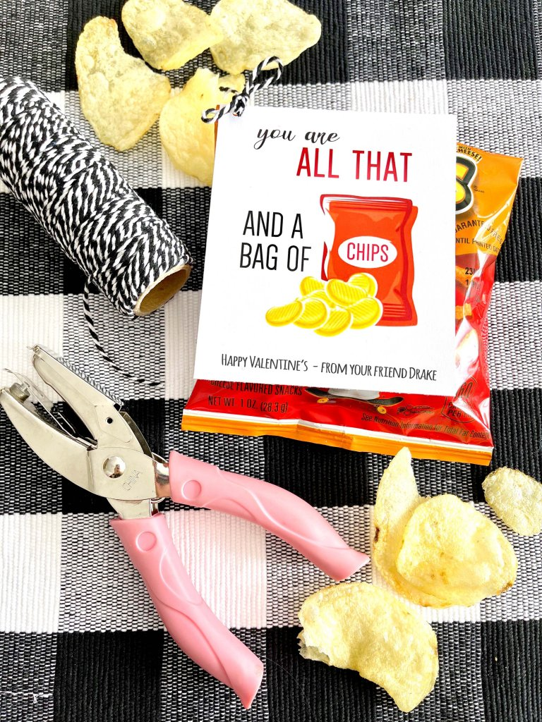 All that and a bag of chips non-candy Valentine ideas by Salt Lake City party stylist