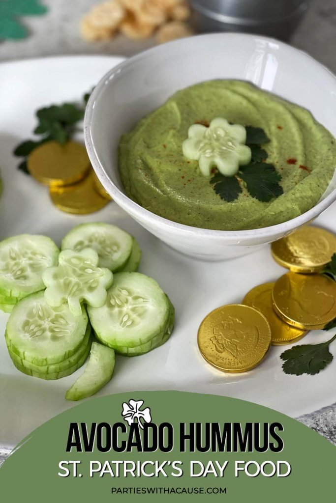Avocado hummus a great St. Patrick's Day food by Salt Lake City Party Stylist