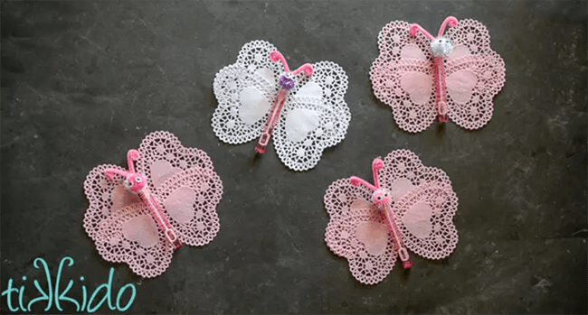 Heart shaped doily butterfly Valentine
