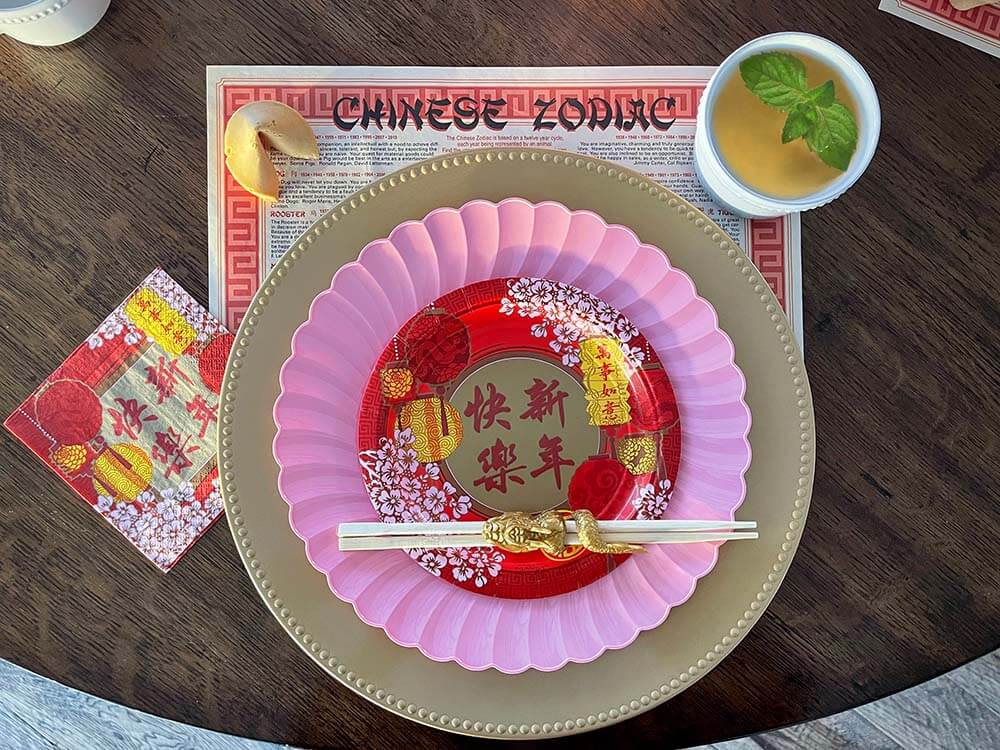 Chinese inspired place setting for Chinese New Year dinner
