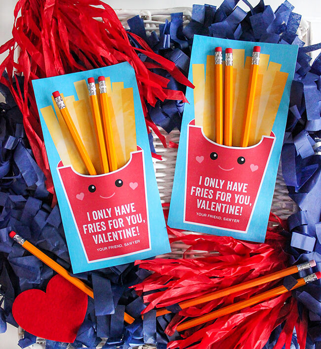 free printable Valentines card with pencils as french fries