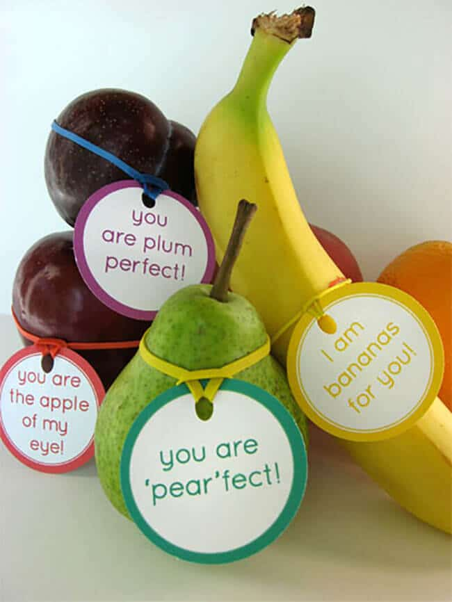 Fruit tags for healthy valentine treats