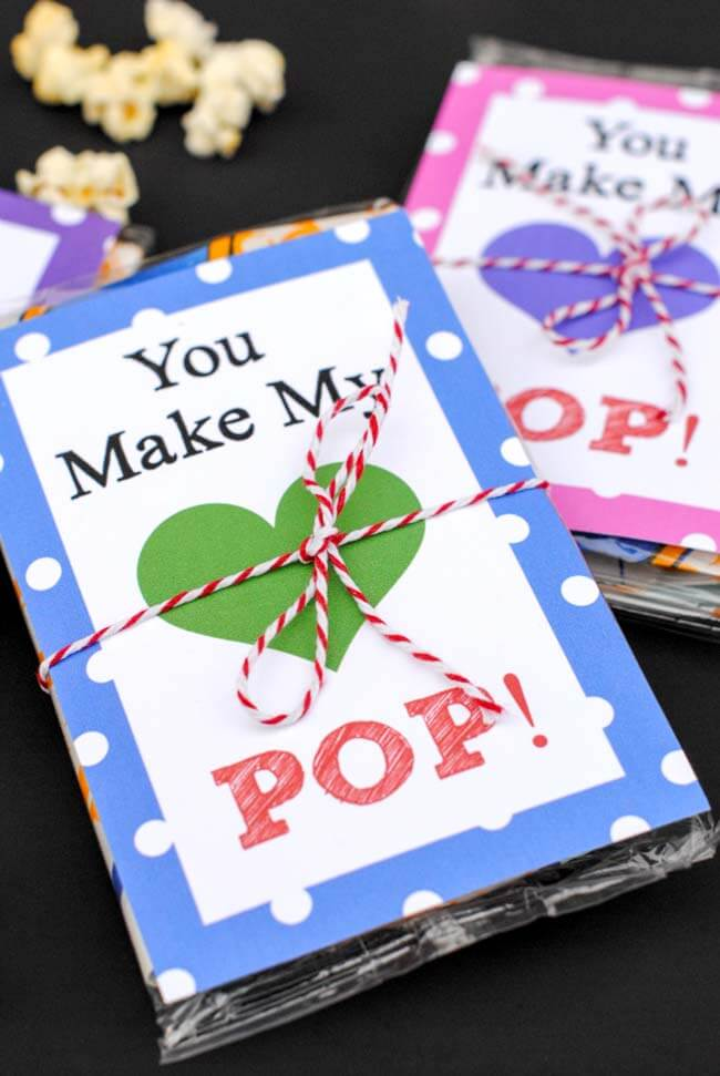 You make my heart pop - popcorn free printable valentines