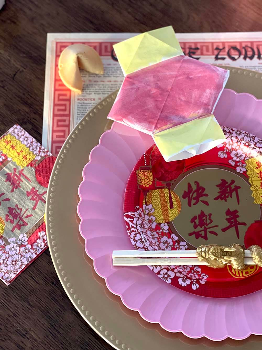 Place setting on Chinese New Table for kids