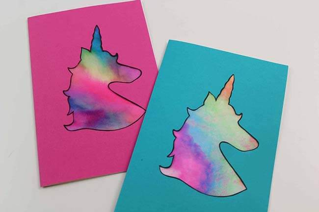 Coffee filter Tie dye unicorn valentine craft card
