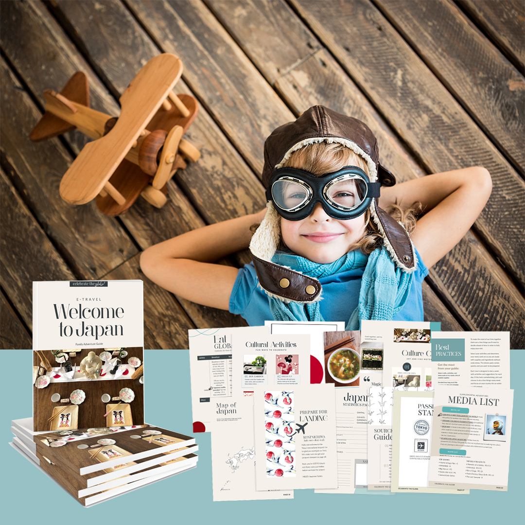 Little boy ready for adventure with Japan adventure guide