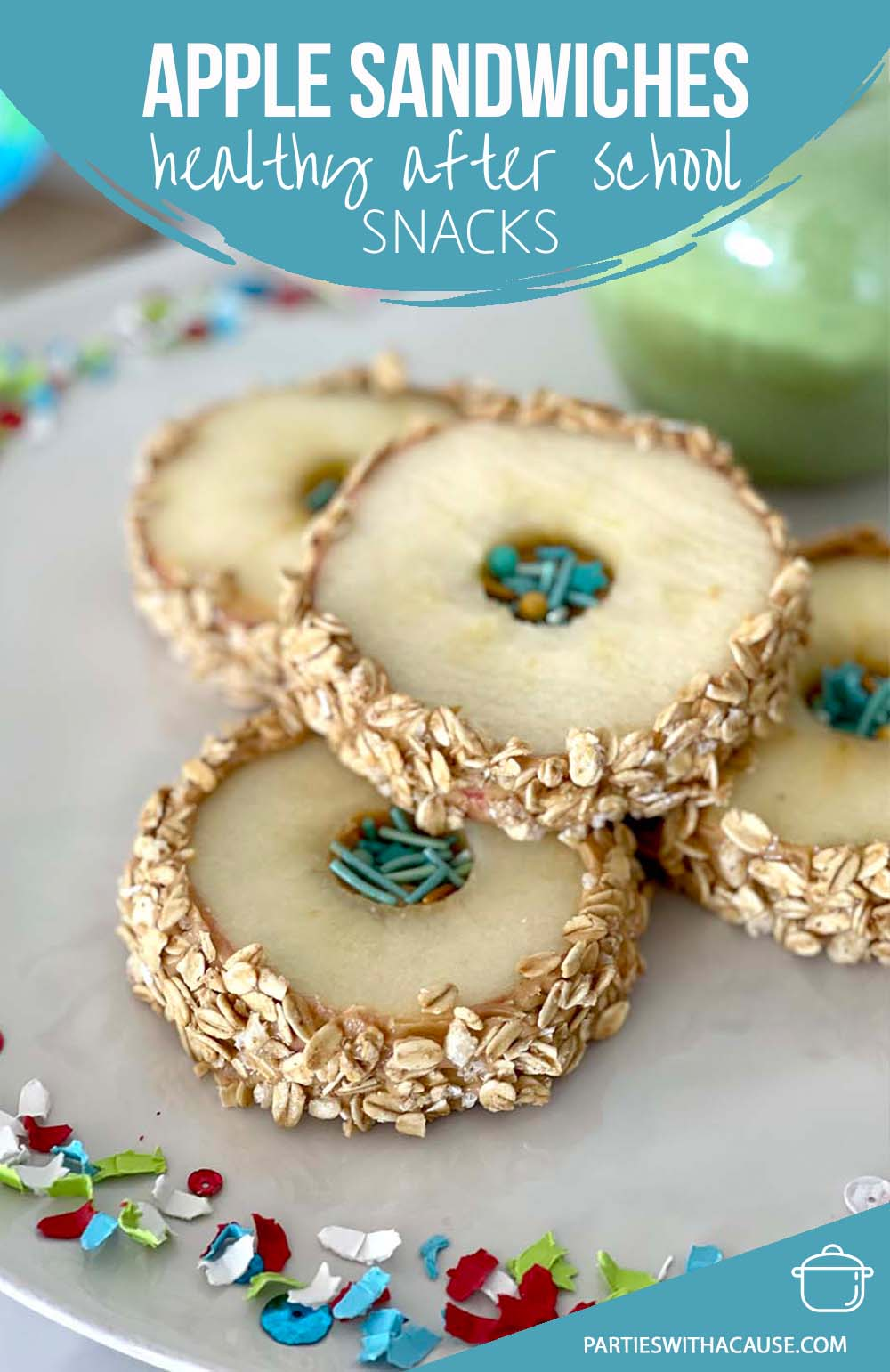 Apple sandwiches rolled in granola with sprinkles
