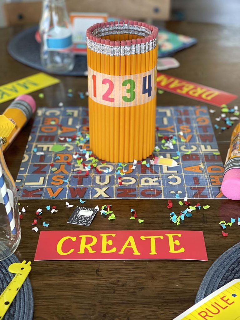 Pencil centerpiece on back to school party table