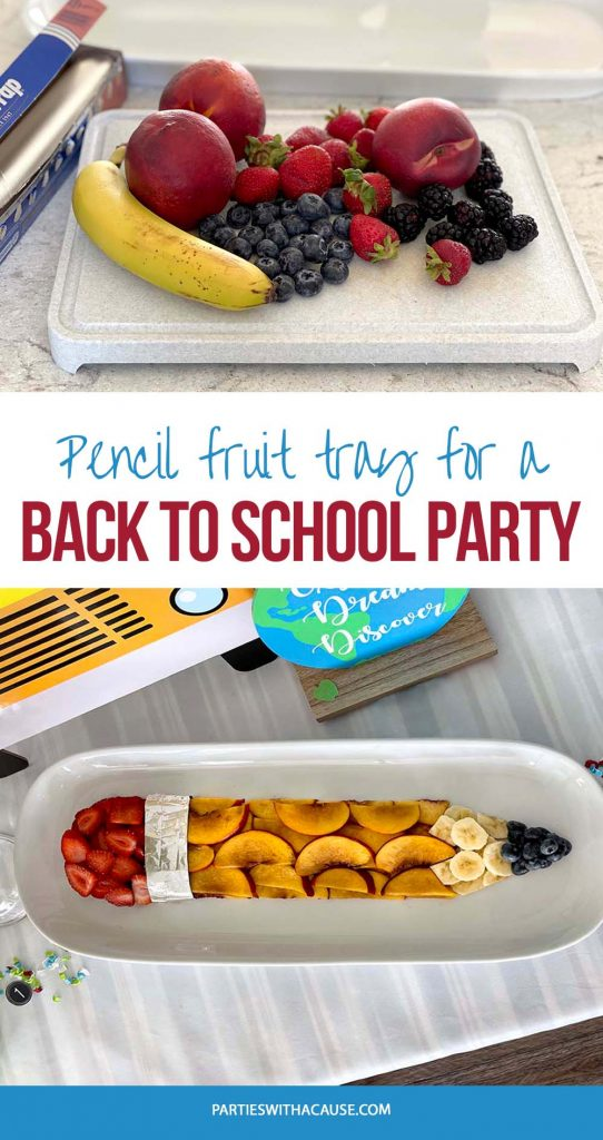 Pencil fruit tray for a back to school party