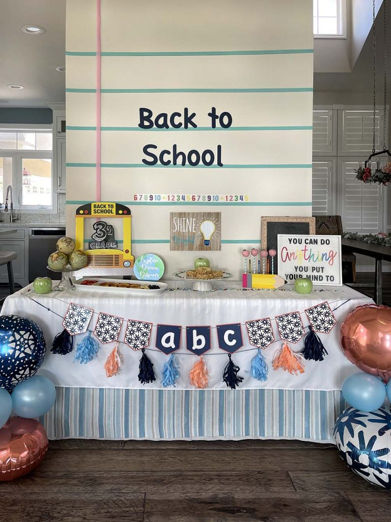 Back to school themed party table