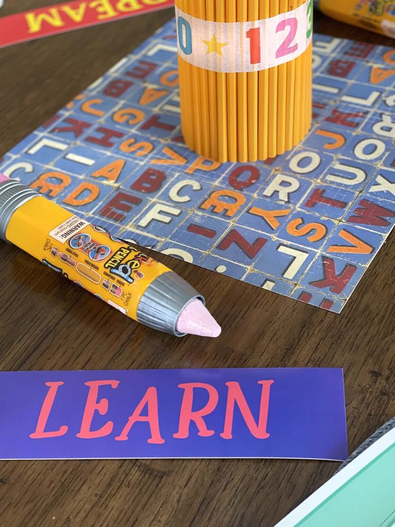 Learn tag on back to school party table