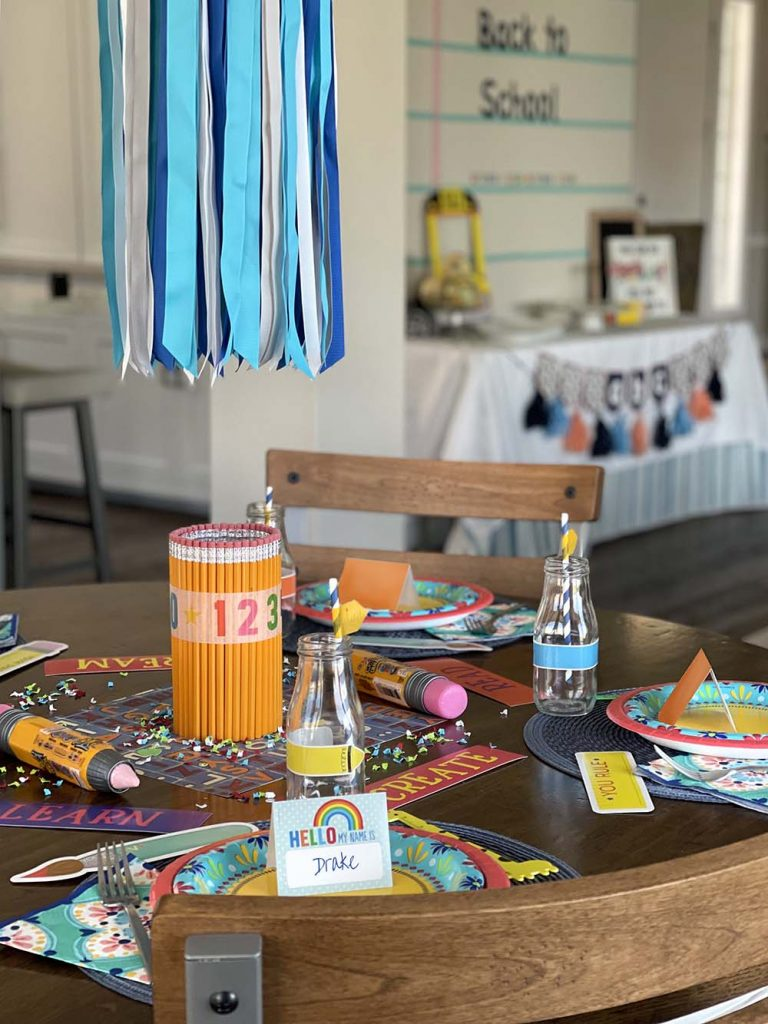 school themed party table